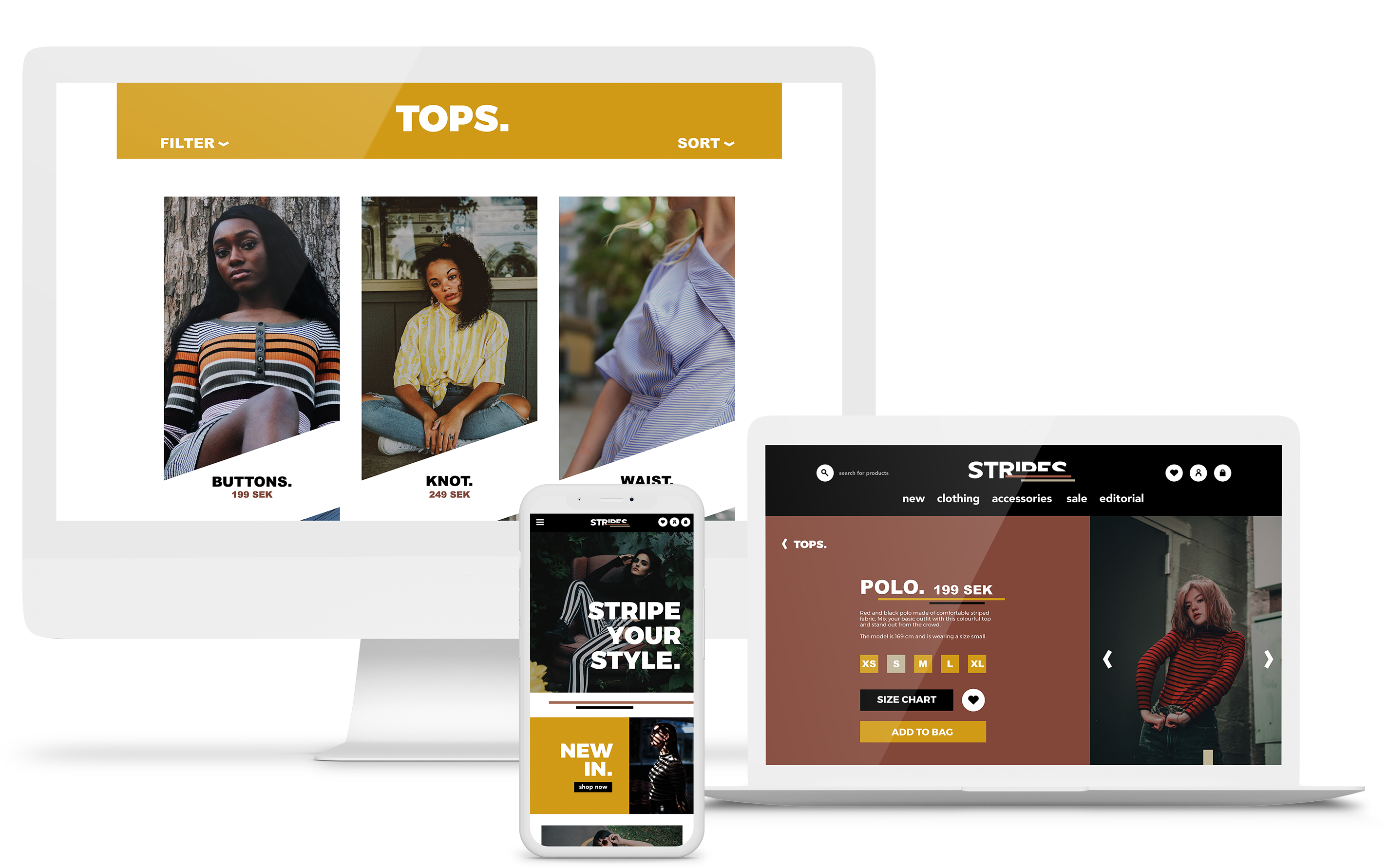 Mockup website for Stripe clothing company different version