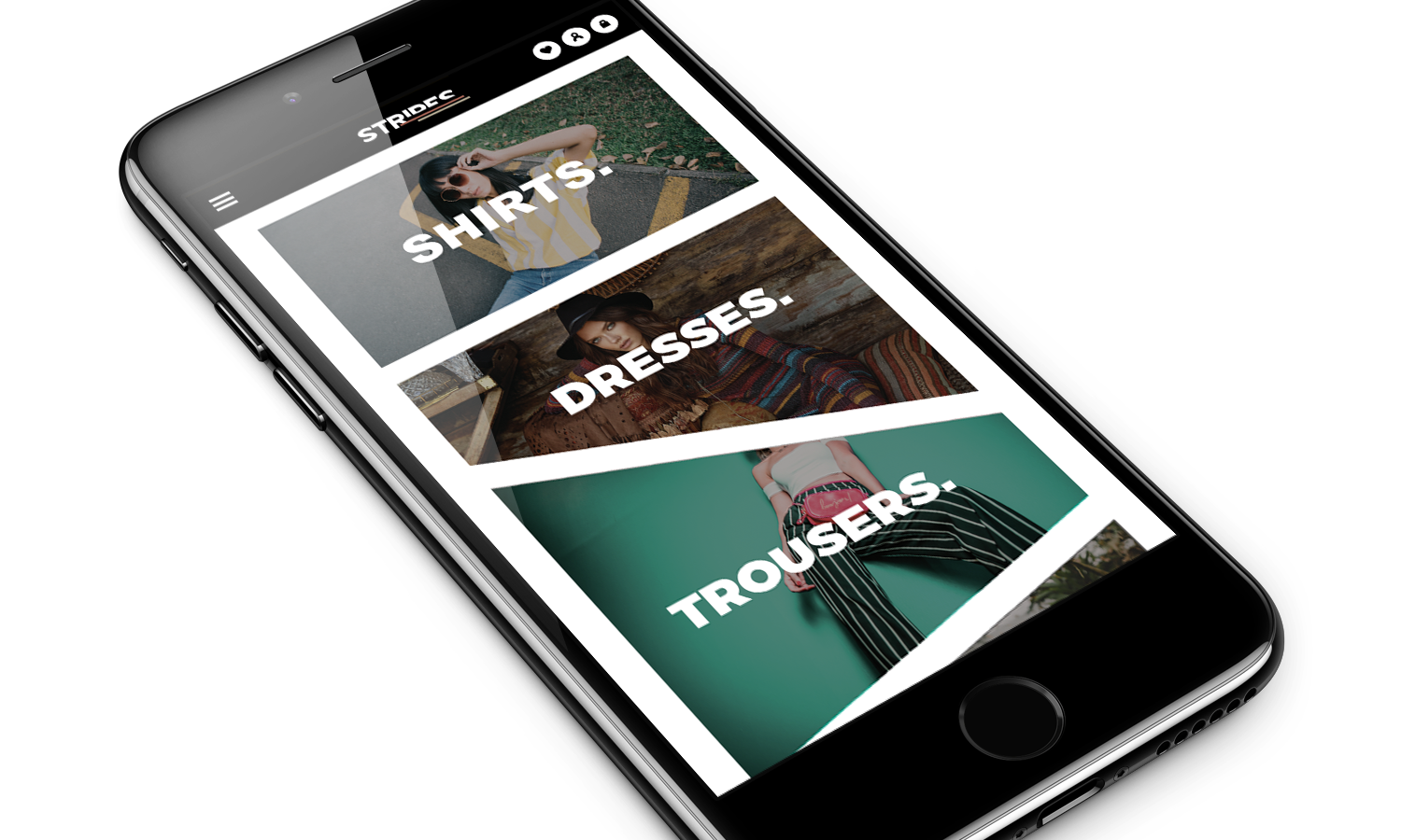 Mockup website for Stripe clothing company iPhone/mobile version