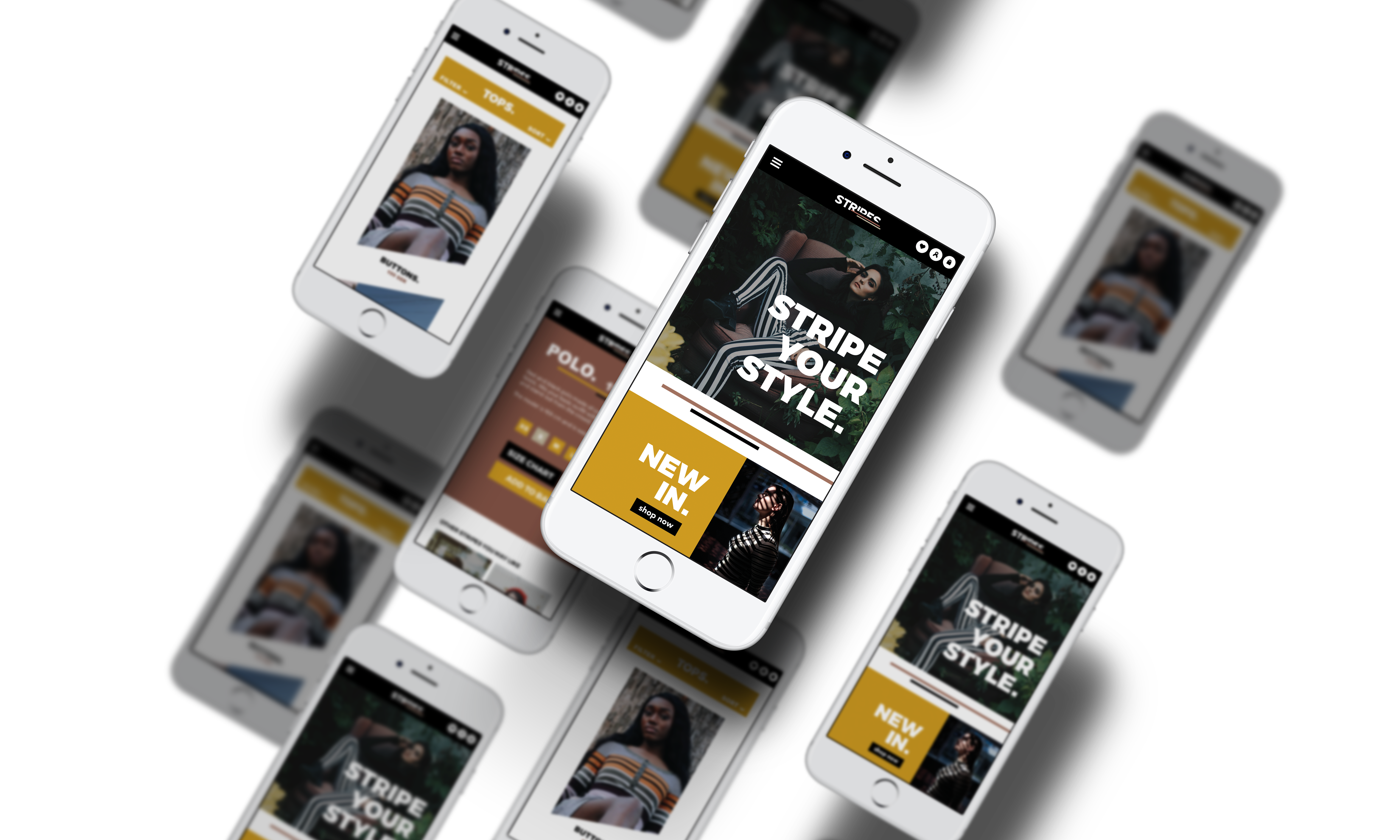 Mockup website for Stripe clothing company mobile/iPhone version